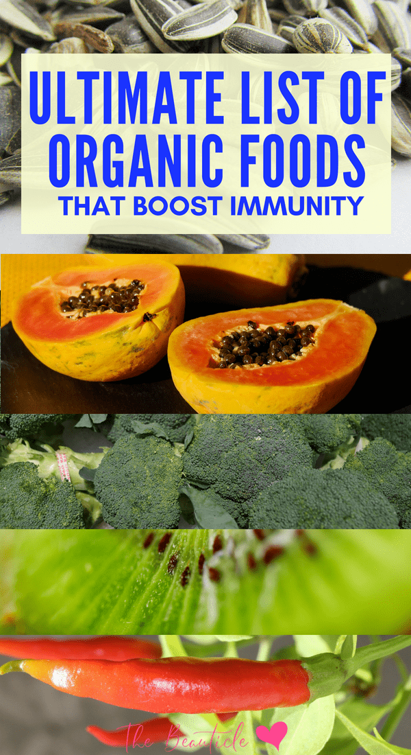A complete list of organic foods that boost immunity to strengthen your immune system and keep you free from flu and other illness. Includes several immune boosting smoothie recipes and flu tonics