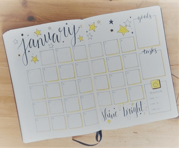 bullet journal monthly calendar, monthly log