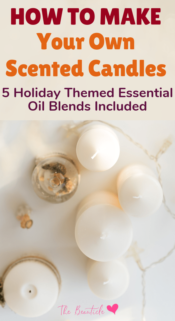Learn how to make your own handmade candles with your favorite scents. Make holiday gifts or make your house smell like the holidays with this essential oil candle tutorial. It's so easy to make your own all-natural candle that will smell amazing. #essentialoils #diy #candlemaking #scentedcandles