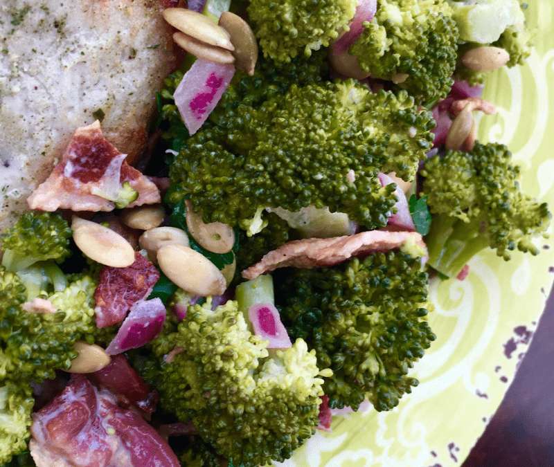 Keto Broccoli Bacon Salad with Toasted Pumpkin Seeds