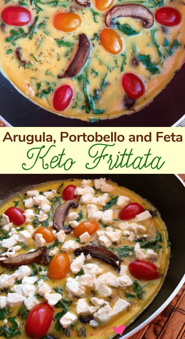 Easy Keto Frittata Recipe with arugula, portobello mushroom and feta cheese. #ketorecipe #ketogenicdiet #keto