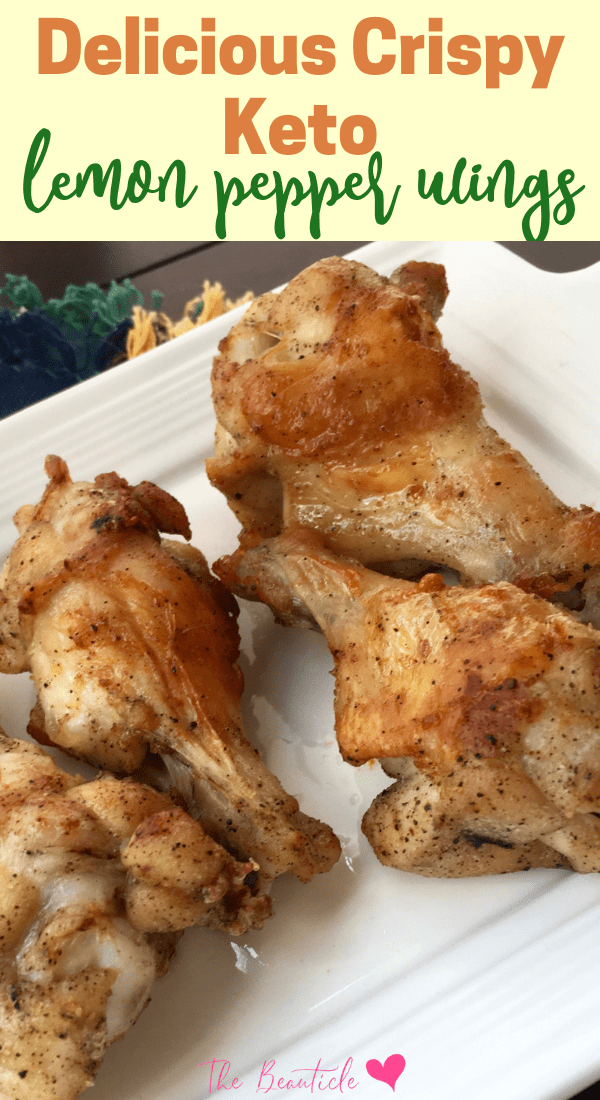 Delicious crispy keto lemon pepper wings recipe. Perfect keto appetizer or keto Thanksgiving, keto Christmas appetizer. Serve this up with your favorite keto dipping sauce #ketorecipe #ketogenic #ketodiet #keto #lowcarb #chickenwings
