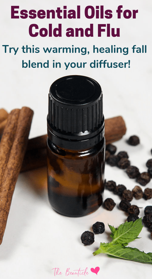 Essential oils for congestion: a warming and healing essential oil for colds diffuser blend that smells like fall! Learn about antiseptic and antiviral essential oils and antimicrobial essential oils that heal viruses during cold and flu season. #essentialoils #fluseason #homeremedy #fluremedy