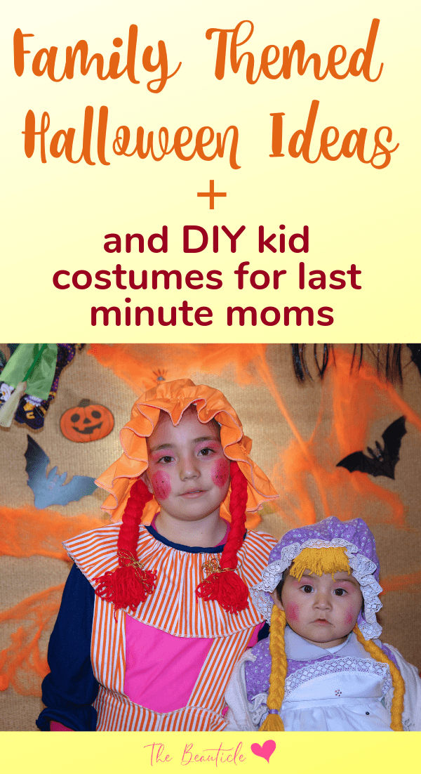 Family Themed Halloween Costume ideas plus 4 DIY kids costume ideas for last minute moms #halloween #halloweencostume #diyhalloween #halloweendiy #diycostume
