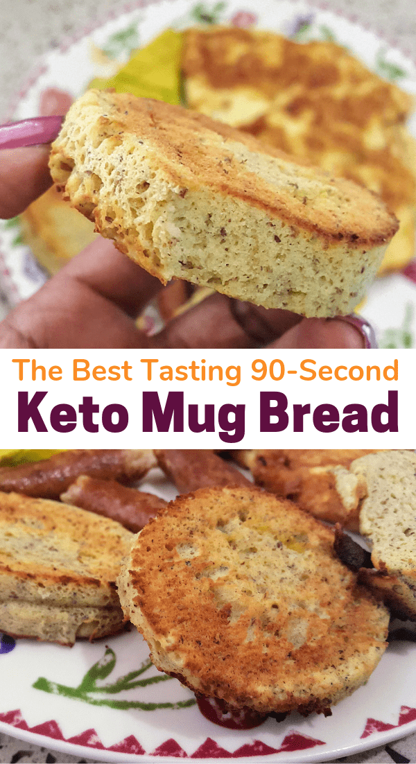 The best tasting 90 second keto mug bread recipe you will find. Try this keto microwave bread with simple ingredients. Your new favorite low carb bread is here! #keto #ketorecipe #ketogenicdiet #lchf #ketosis